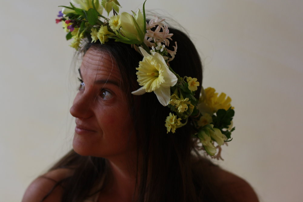floral crown with spring flowers, Hedgerow Flower Company, Nova Scotia. Flower farm and wedding florist.