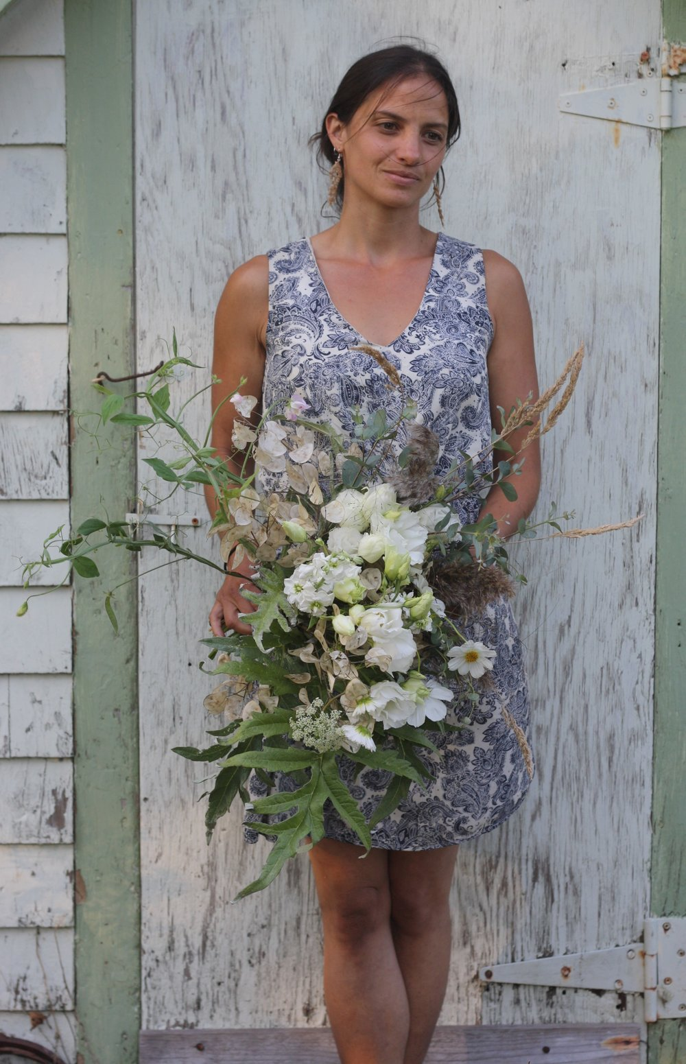 White wedding bouquet. Organically grown flowers in Nova Scotia. Hatfield Farm
