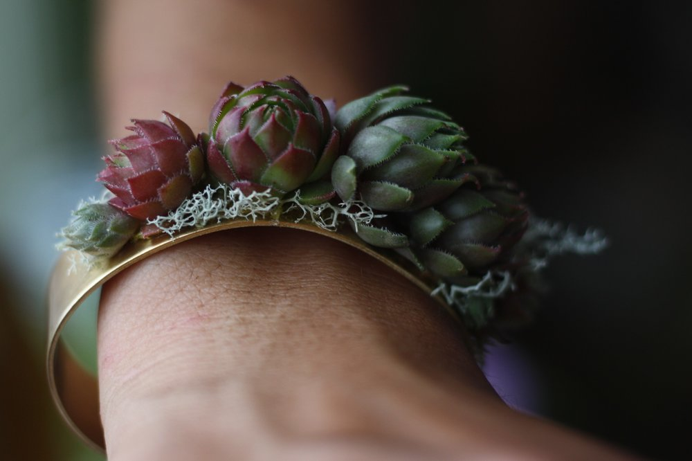 Classy wrist corsage alternative. Cuff bracelet featuring succulents. Halifax wedding.