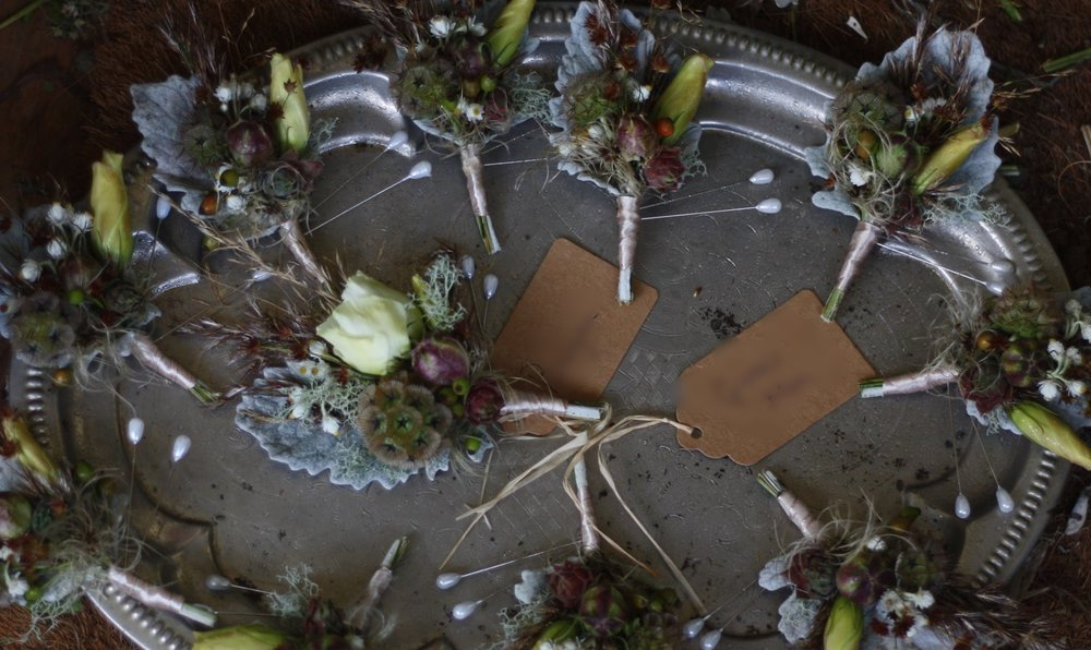 Digby Pines wedding: Florist: Hedgerow Flower Company. Botanically inspired boutonnieres.