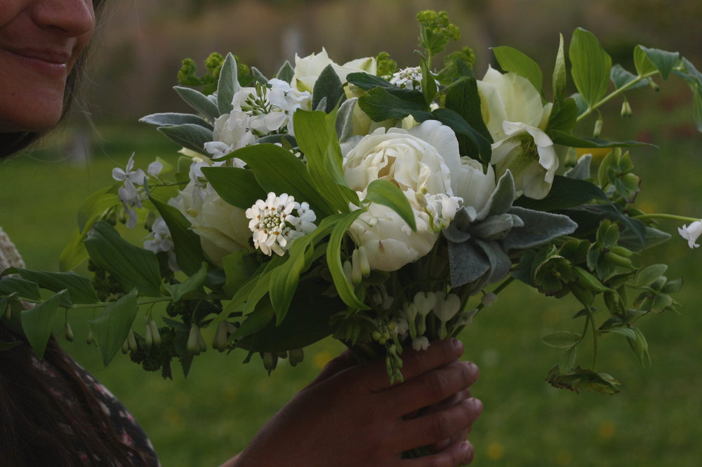 White and green bridal bouquet from Hedgerow Flower Company, Nova Scotia.
