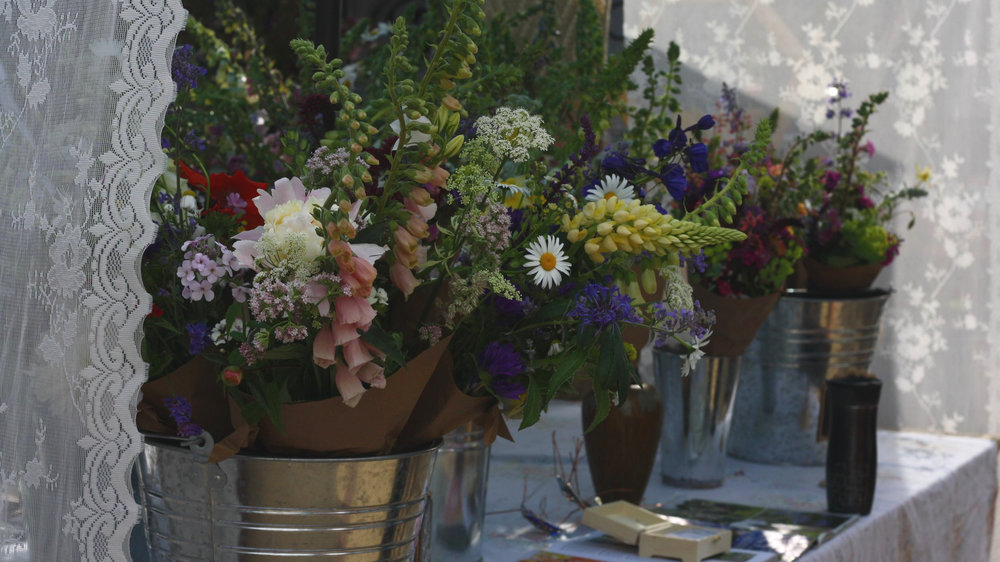 Hedgerow's flower stall at the Annapolis Royal farmer's market.