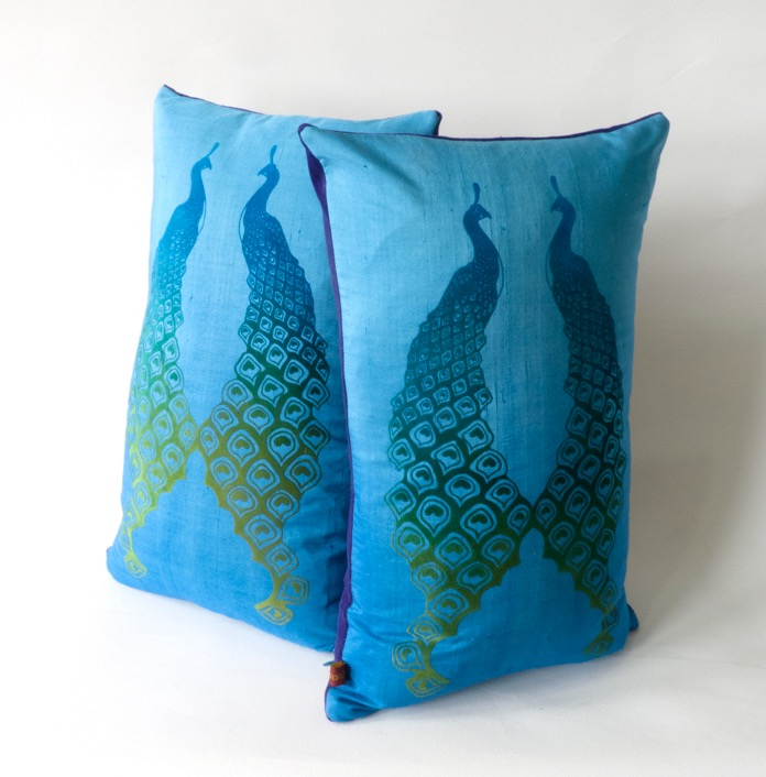Katieswallisprint - handmade peacock cushions £75 each.