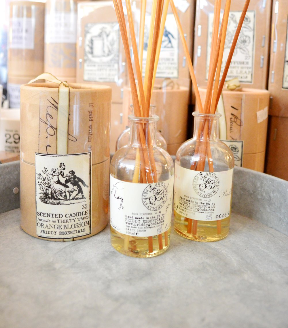 Priddy Essentials Diffusers £26.95, Candles £19.95