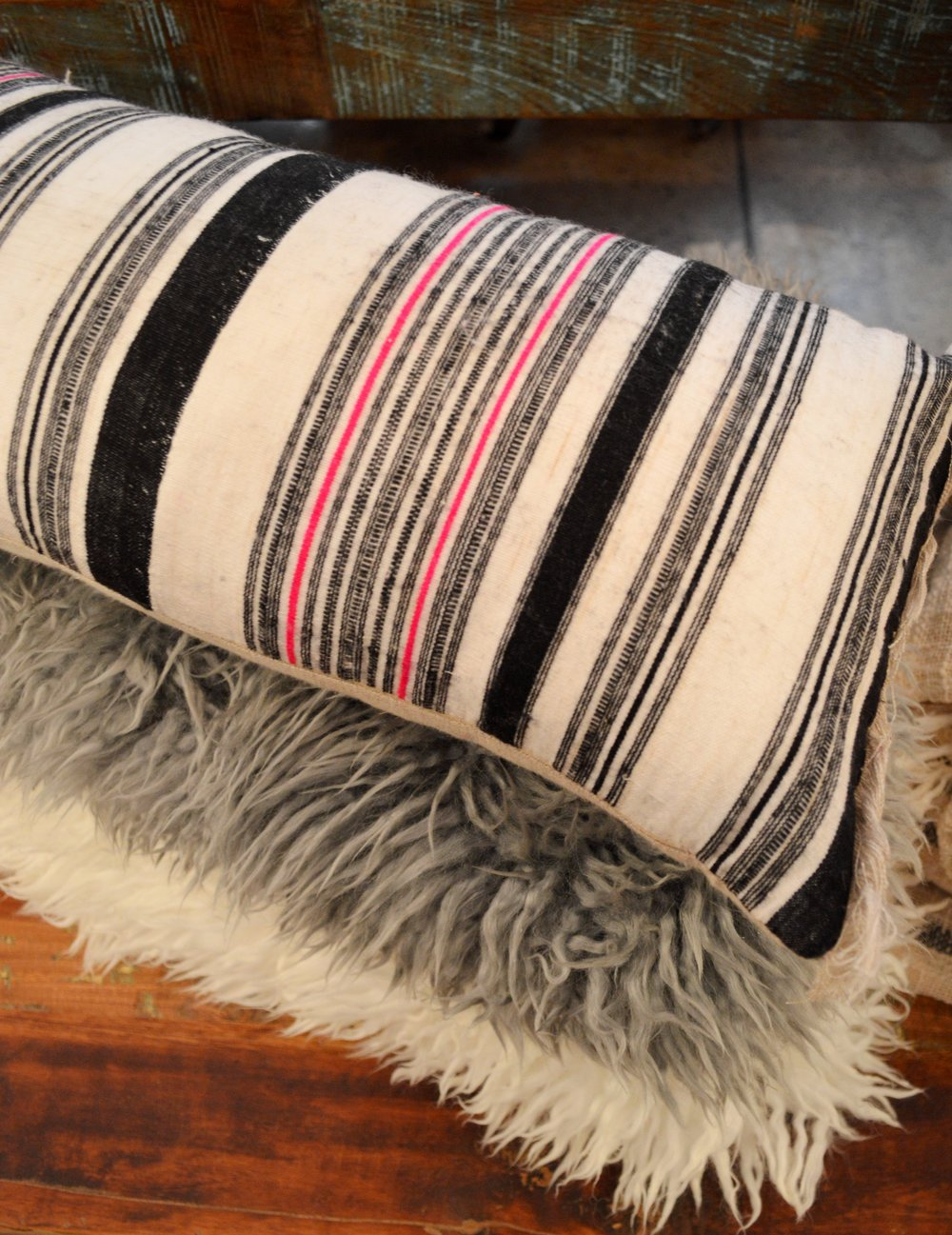 Vintage Fabric Cushion £34.95 and Yeti Sheepskin Rugs £90.00