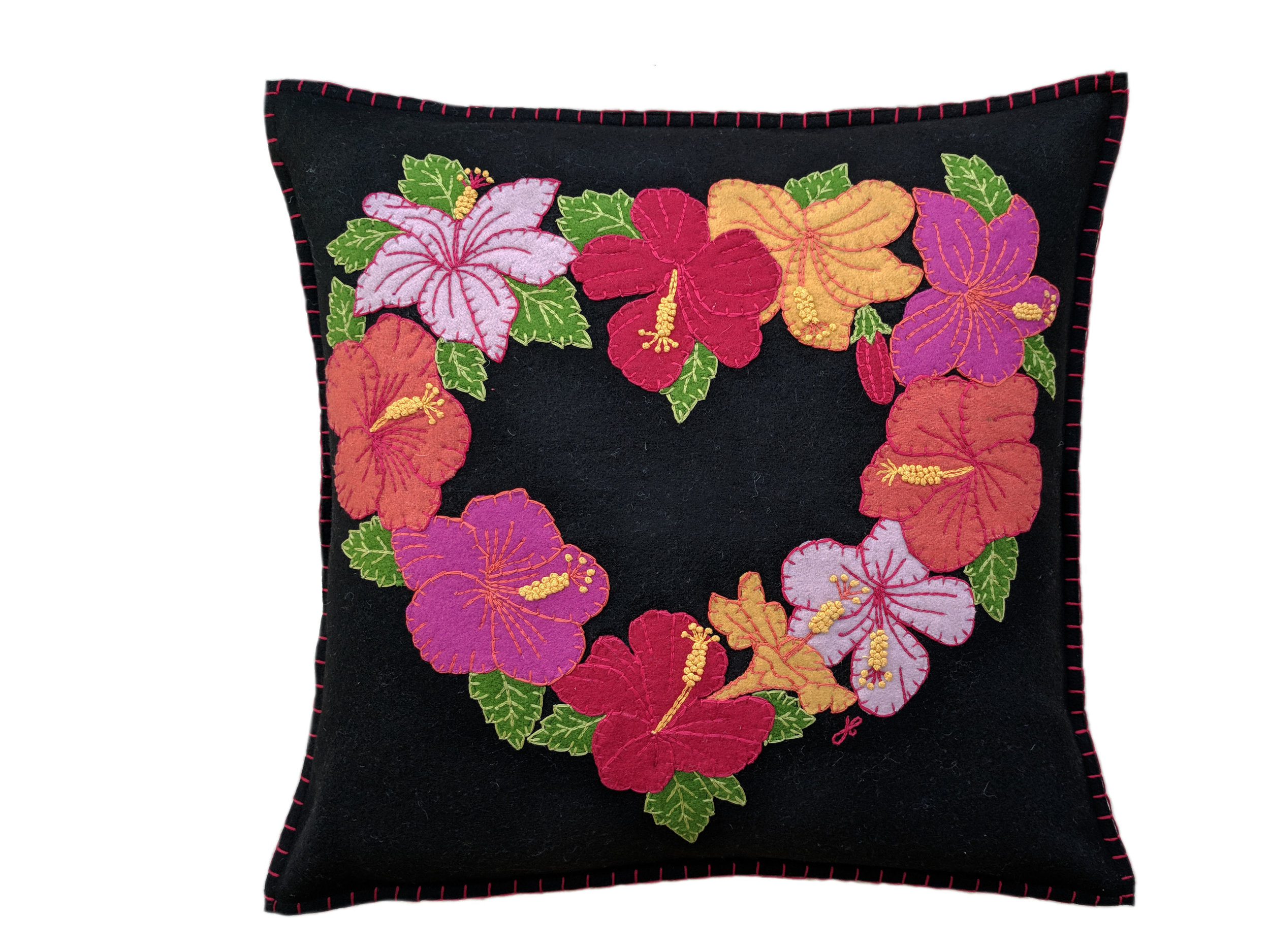 Tropical hibiscus heart cushion u homefront interiors
