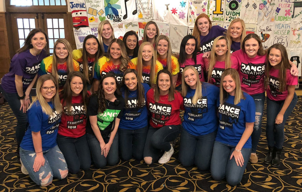 Chi Omega Sisters with Leadership Positions for Dance Marathon 24