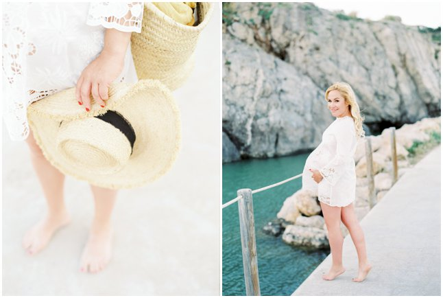 Beach Maternity session Barcelona white Zara dress