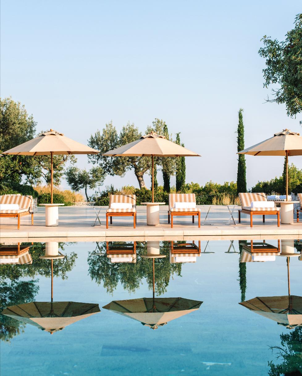 Amanzoe pool side holiday