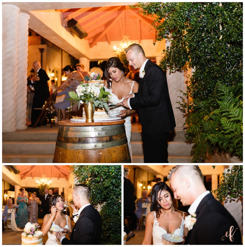 San Diego Wedding Photographer | Ernie & Fiona Photography | Naked Cake | Cut | Bride | Groom