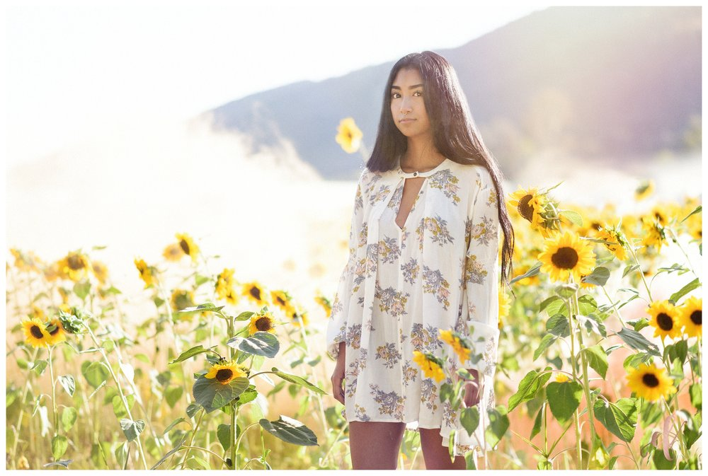 San Diego Portrait Photography | Senior Portraits | Sunflowers | Free People | Smoke Bomb | San Marcos