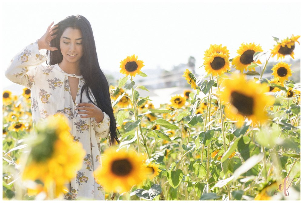 San Diego Portrait Photography | Senior Portraits | Sunflowers | Free People | San Marcos