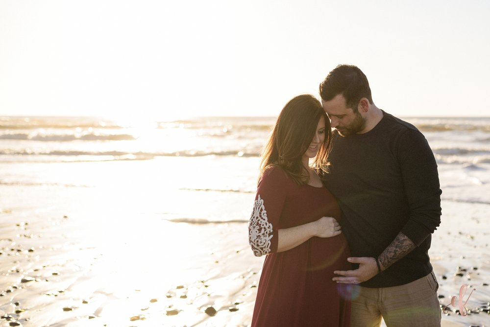 San Diego Maternity Portraits | Dramatic Dress | Beach