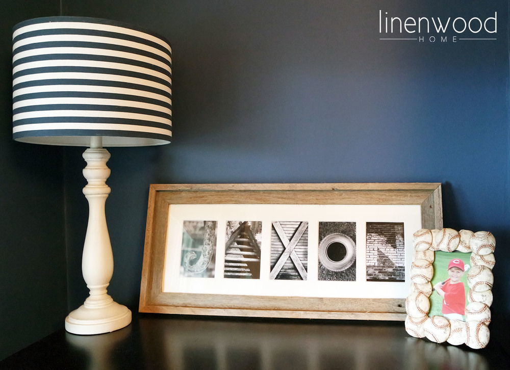 Lamp and frames are from Hobby Lobby, and the letters were found in an Atlanta Boutique.