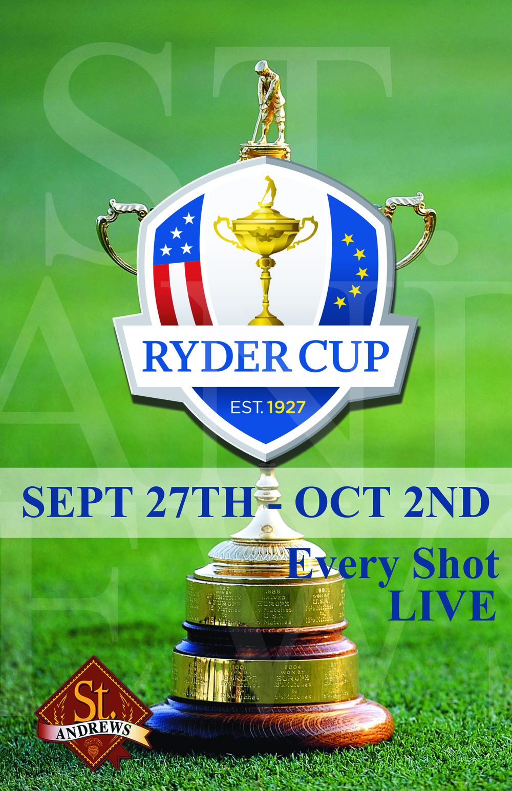 SHOWING ALL THE ACTION! DON'T MISS A SHOT AT ST. ANDREWS!