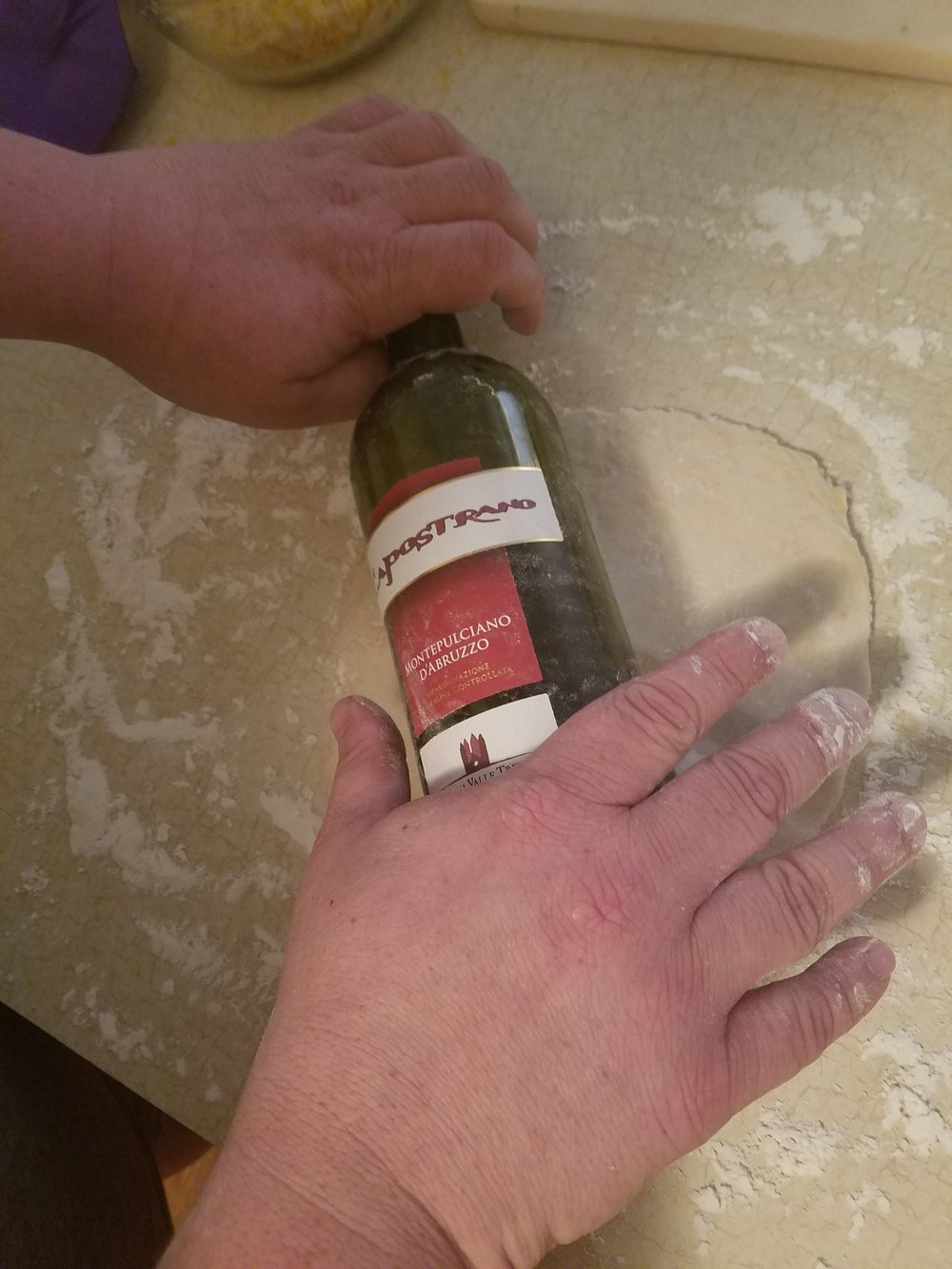 We didn't have a rolling pin but luckily my friend saves empty wine bottles like a maniac.