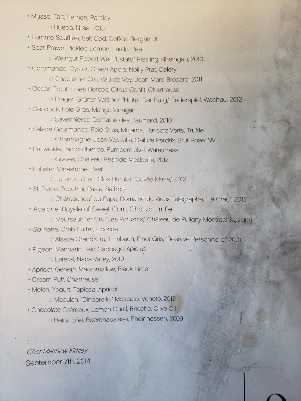 The very worn L20 menu from our visit