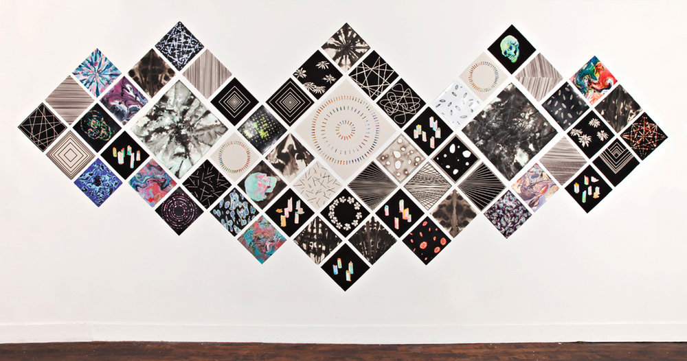 "Spectral Visions,  2012   Gouache, enamel, acrylic, ink, burnt holes on paper, 58 parts, 84x204"" (Image from artist's website)"