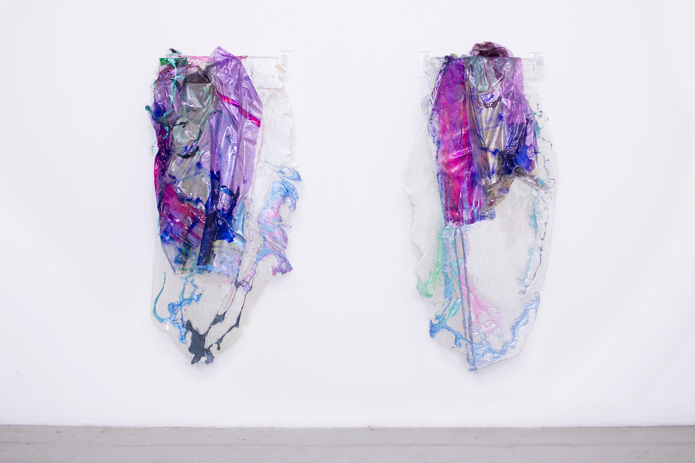 I am yours and you are mine (III and IV). 2016. Rubber, digitally printed vinyl, house paint, iridescent pigment, plexi towel bar. Dimensions variable. (Image from artist's website.)
