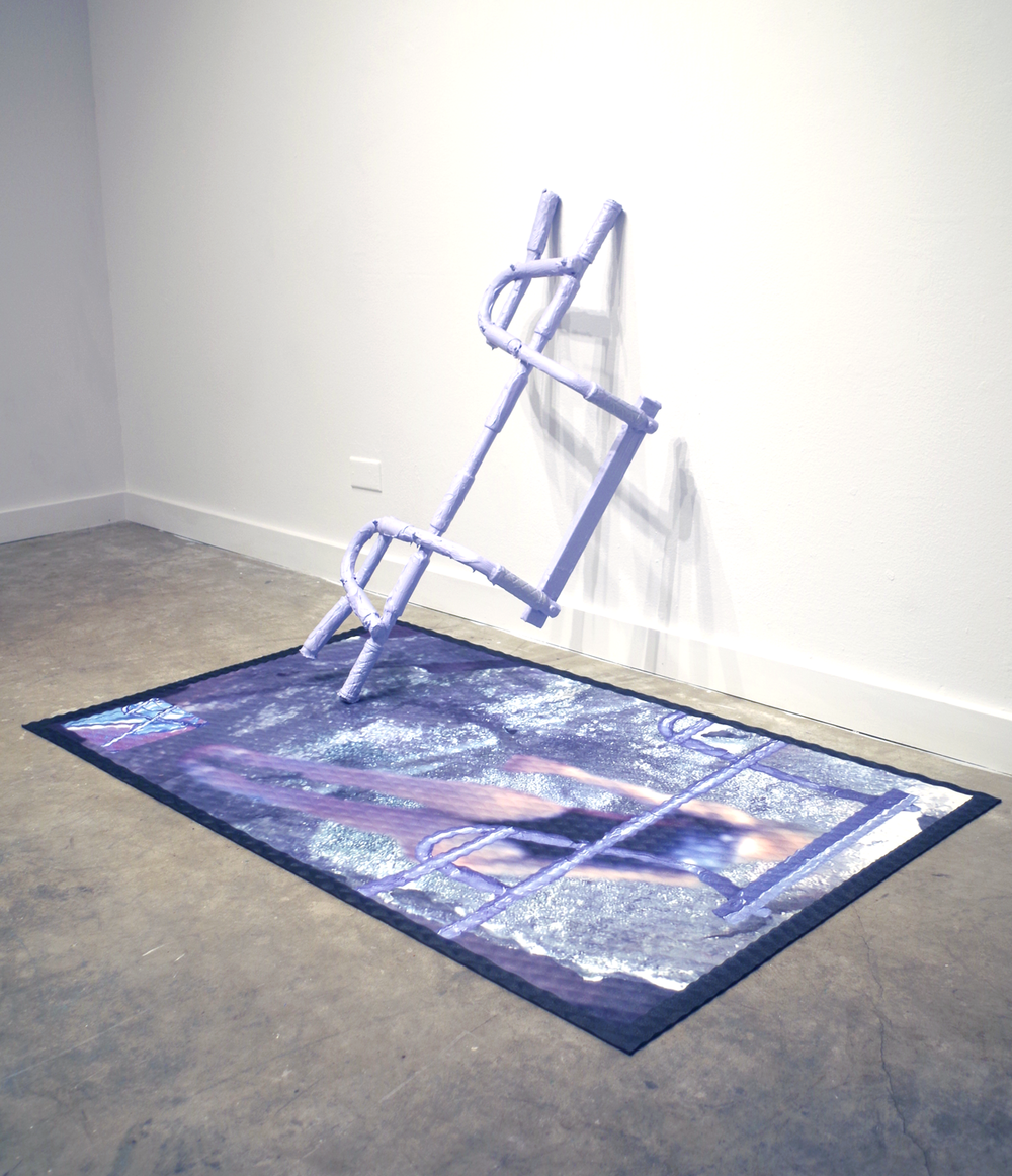 I am yours and you are mine (III and IV). 2016. Rubber, digitally printed vinyl, house paint, iridescent pigment, plexi towel bar. Dimensions variable. (Image from Artist website.)