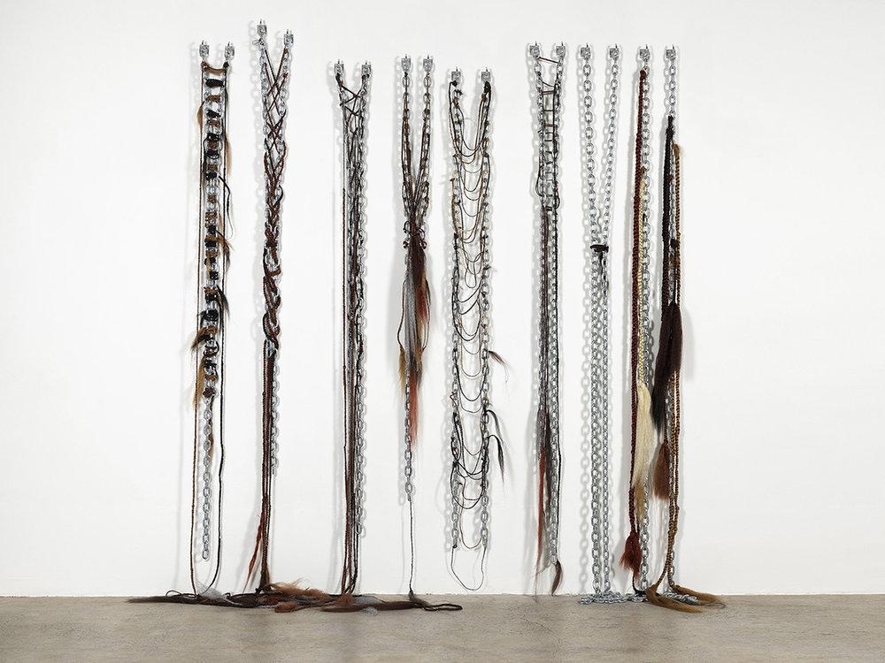 Diamond Stingily,  Elephant Memory  , 2016, Kanekalon hair, steel, 96 x 96 in (244 x 244 cm) (Image from Ramiken Crucible)