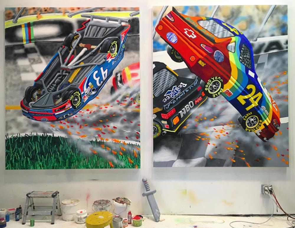 NASCAR series in the studio courtesy of the artist's Instagram.