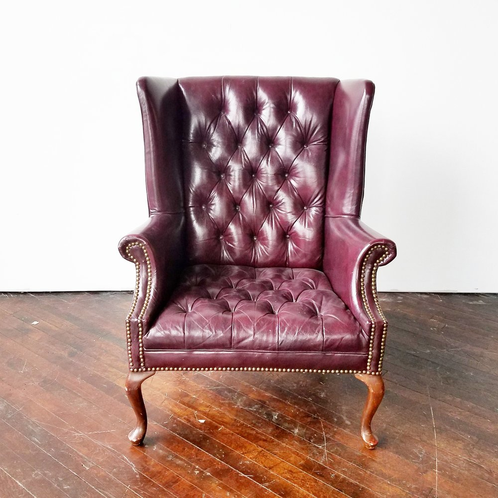Superbe Aubergine   Leather Wingback Armchair