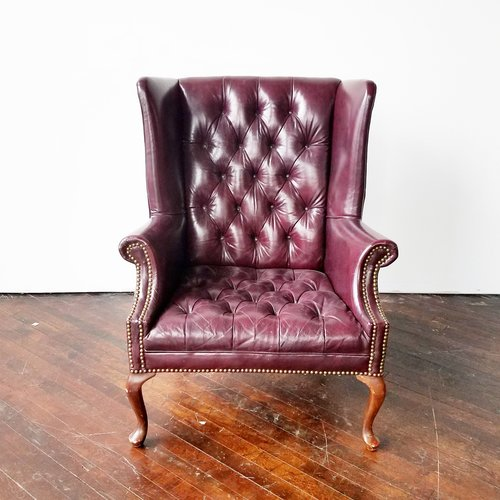 aubergine leather wingback armchair - Leather Wingback Chair