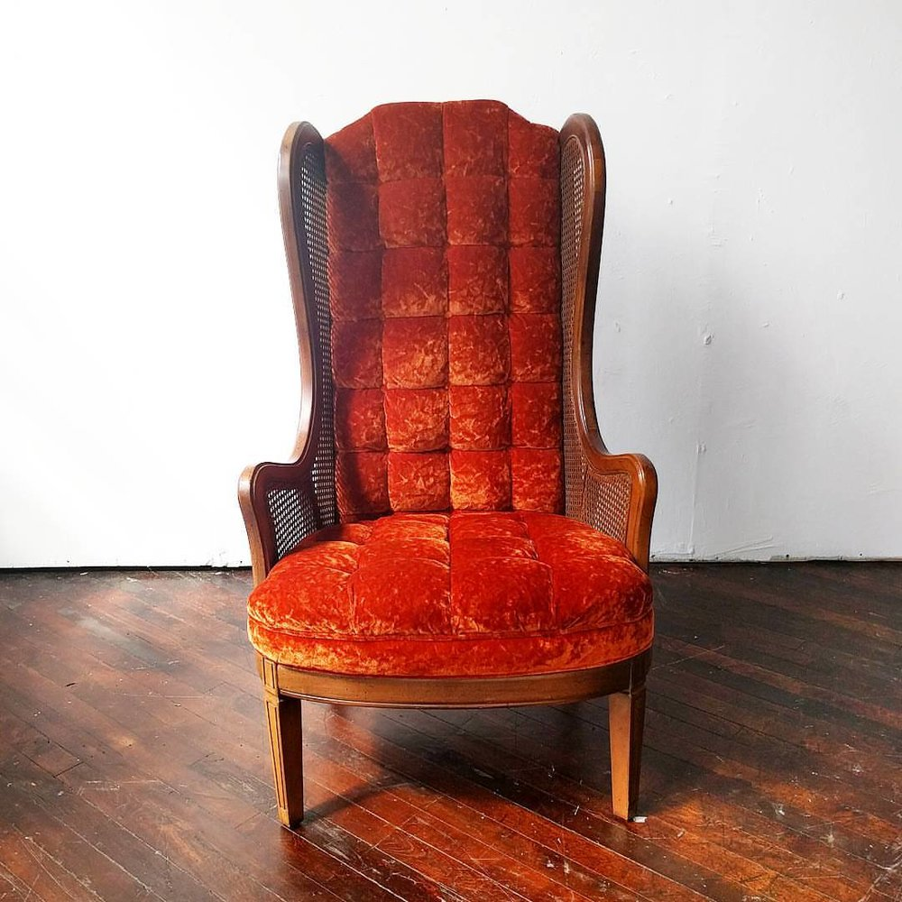 Harry   Burnt Orange Tufted Throne Chair