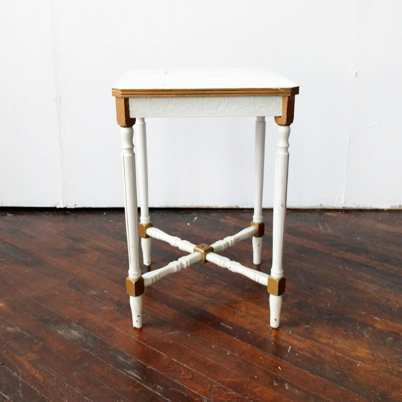 Petite White Gold Side Table Something Old Dayton