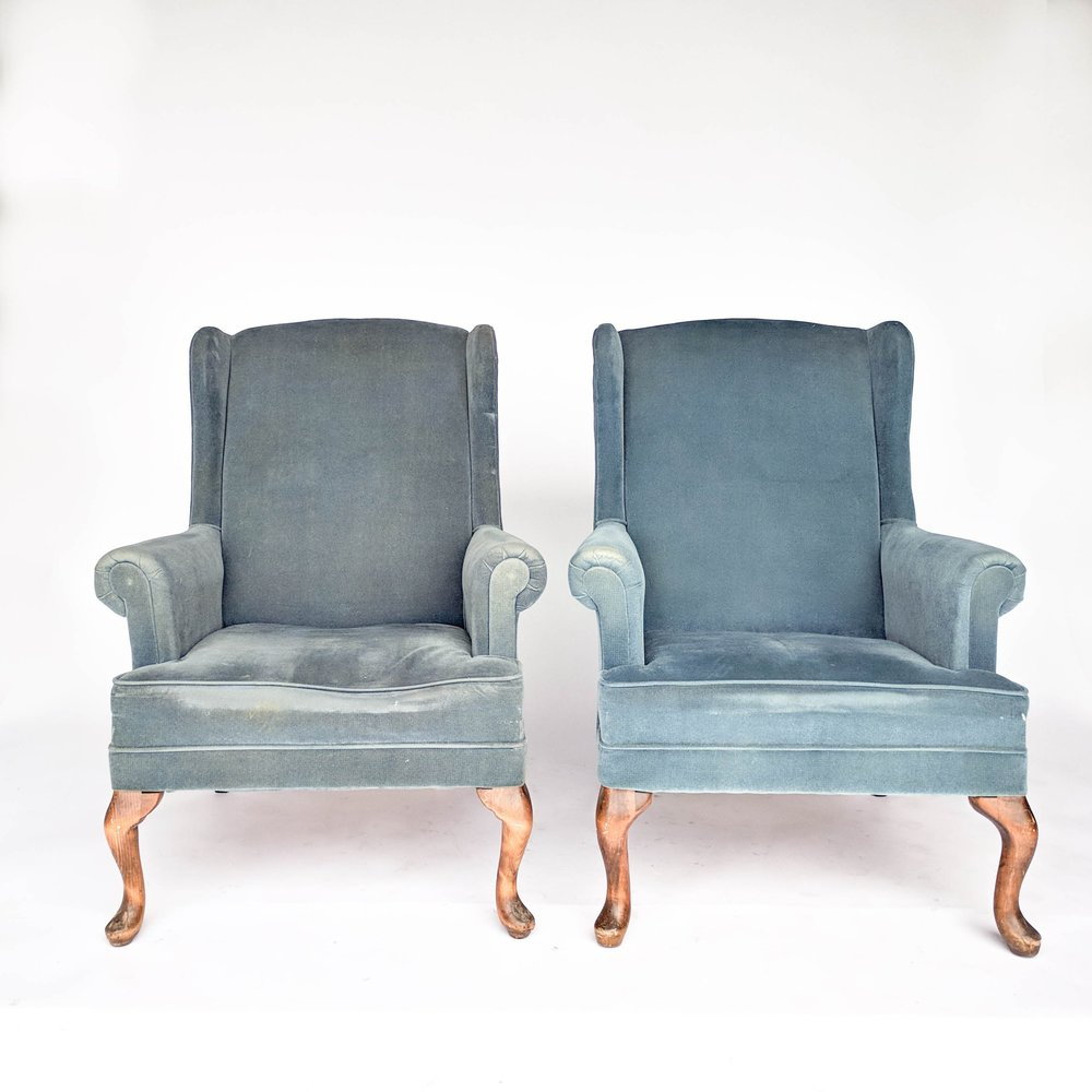 Billy   Blue Wingback Chairs