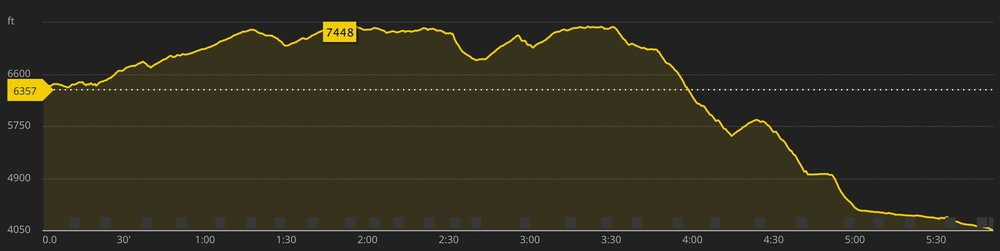 Almost two solid hours of downhill running! Ouch!