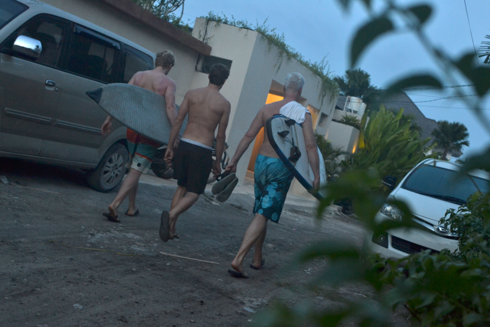 "Early morning stroll to the beach with our bungalow neighbors at the ""Surf Dacha."""