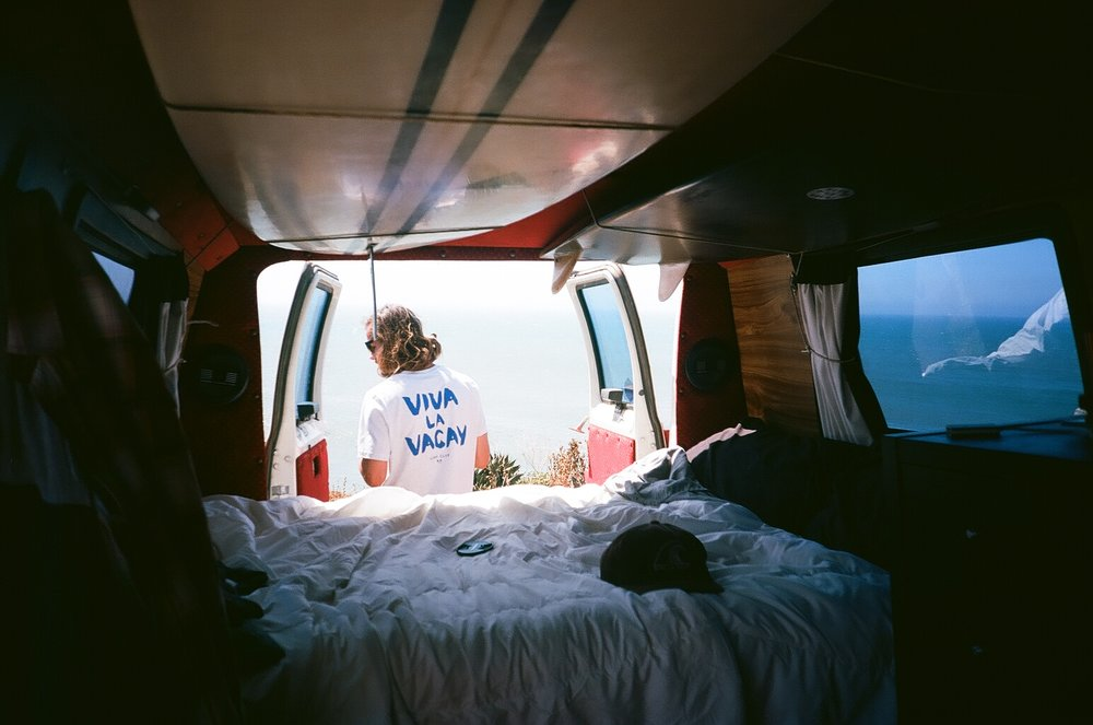 Ben's camper van set up. Both images shot on film by Tyler Annalora.