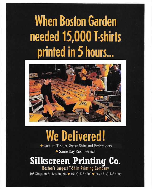TBT :: When the Boston Garden called in 1990 needing 15,000 T-Shirts Printed in 5 Hours, We Delivered. @tdgarden @nhlbruins #Bruins #SilkScreenPrinting