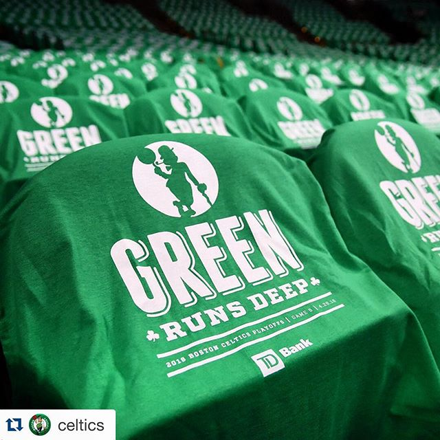 Regram :: Green is Running Deep again at the Garden Tonight ☘ #GreenRunsDeep #LetsGoCeltics #GreenOut #SilkScreenPrinting @tdbank_us
