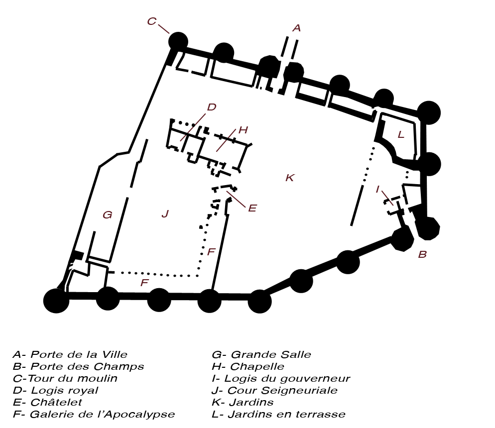 Chateau d'Angers plan. Key: A: gate to the medieval town; B: south gate; C: Mill Tower; D: royal lodgings; E: chatelet (a type of gatehouse); F: gallery of the Apocalypse Tapestry; G: great hall; H: chapel; I: governor's lodgings; J: inner court; K: gardens; L: terraced gardens. By Cyril5555 (Own work) [CC BY-SA 3.0], via Wikimedia Commons