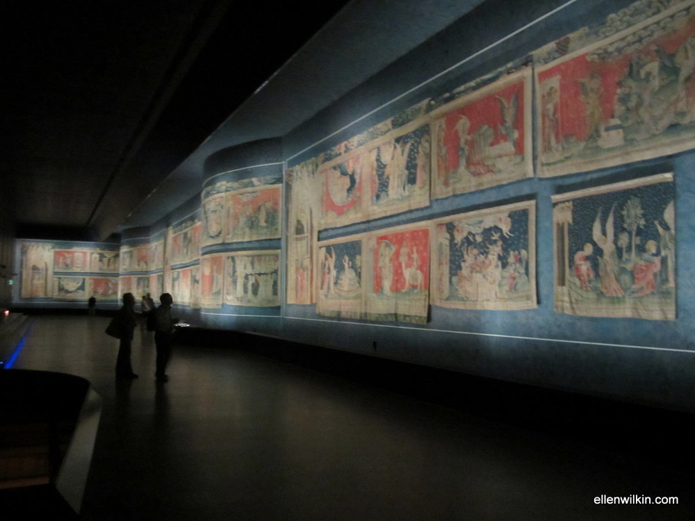 The Apocalypse Tapestry is housed in the 1954 wing of the museum inside the chateau walls. The tapestry was commissioned by Duke Louis I of Anjou in the 14th c. based on Revelations. Some violent gory stuff in here...