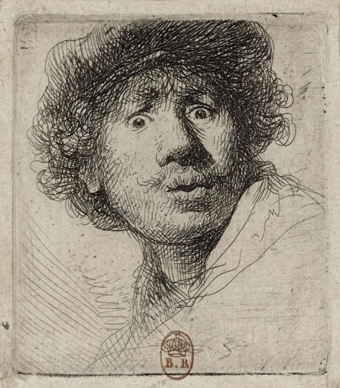 Rembrandt van Rijn,  Self-Portrait in a Cap, Wide-Eyed and Open-Mouthed , about 1630. Etching and drypoint, state 2; 2 1/8 x 1 3/4 in. Bibliotheque nationale de France, Department of Prints and photography (by way of the Denver Art Museum, Rembrandt: Painter as Printmaker.