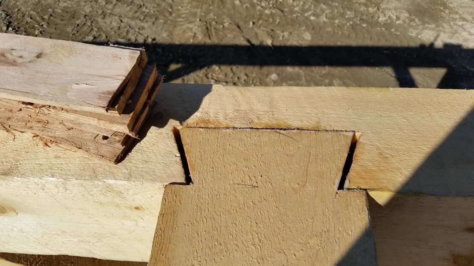 Dovetail joint with space for wedges