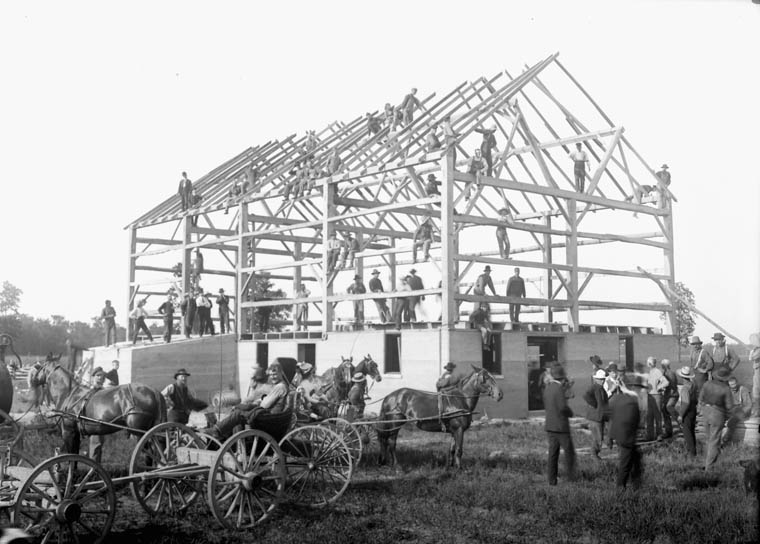A barn raising cir. 1880