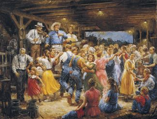 "A ""hoe down"", the barn dance derived from the farming community"