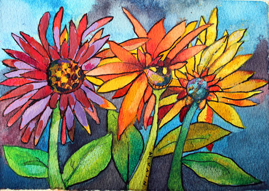 sunflowersWEB-watercolors2014_