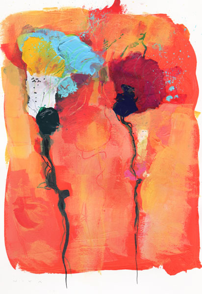 Blown Flowers. Acrylic on Paper with a straw and good lungs ...
