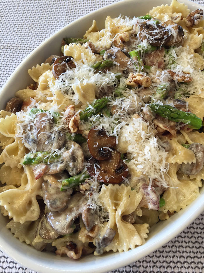 Farfalle, Asparagus, Mushrooms and Bacon