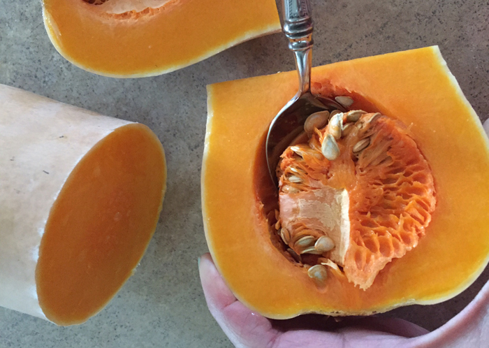 Cleaning Butternut Squash