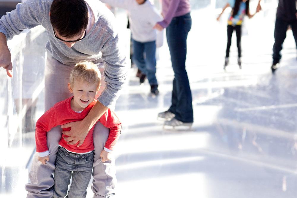 dad and son skating