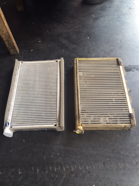 The new cooling coil is on the left and the faulty one on the right