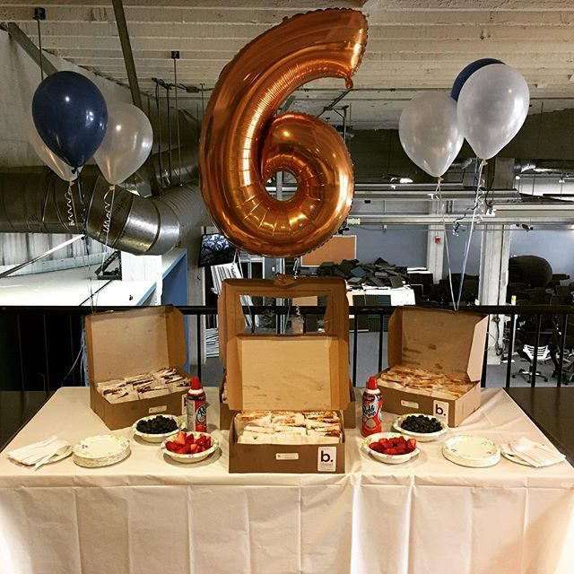Happy 6th birthday Womply, you don't look a day over 3 😉 #hbd #womply #happybirthday #balloons #6 #bstreetwaffles #wcw #waffles