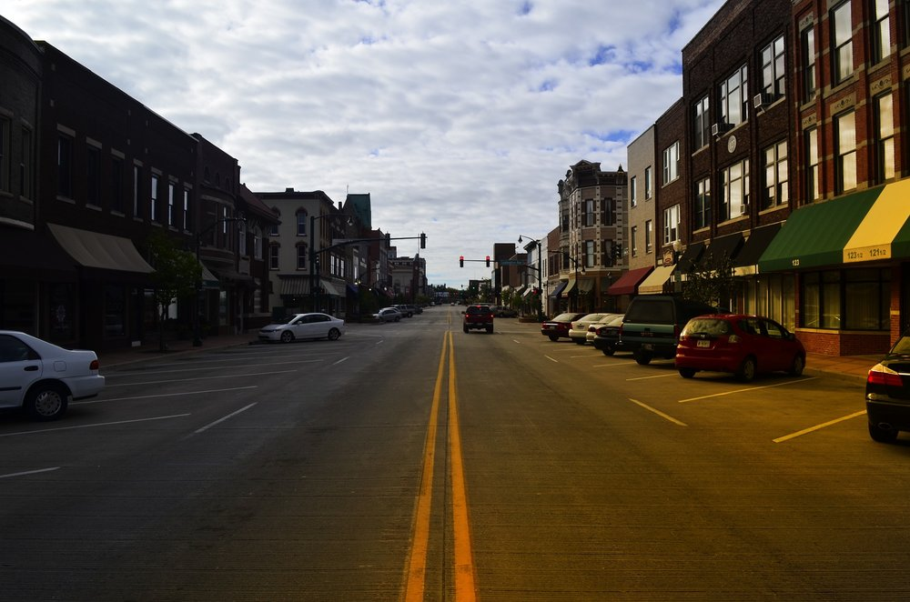 Main Street in Elkhart, Indiana, one of the top states for small business optimism.